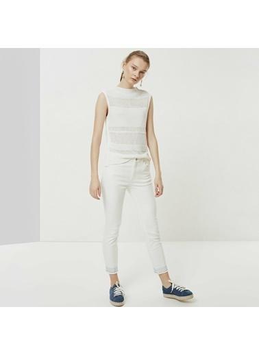 Yargıcı Dikiş Detaylı Denim Pantolon Beyaz